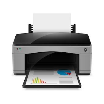 Izolowana realistyczna drukarka