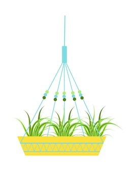 Izolowana wisząca szczegółowa donica wykonana z bawełnianego sznurka, rośliny doniczkowe do wnętrz i na zewnątrz lub do biura, ogrodu krajobrazowego.