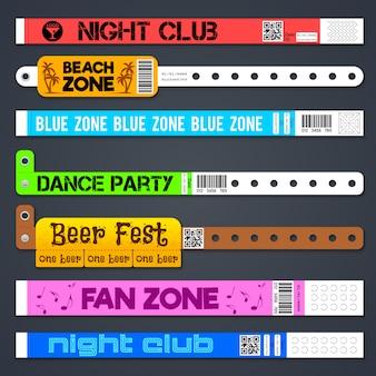 Izolowane bransoletki wejściowe zone. plastikowe opaski na rękę z koncertem lub hotelem. bransoletka na rękę, opaska na wejście i ilustracja