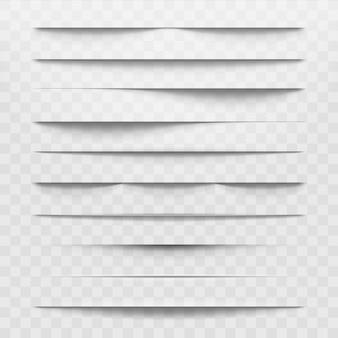 Izolowane papierowe przekładki cienia na dole przezroczyste