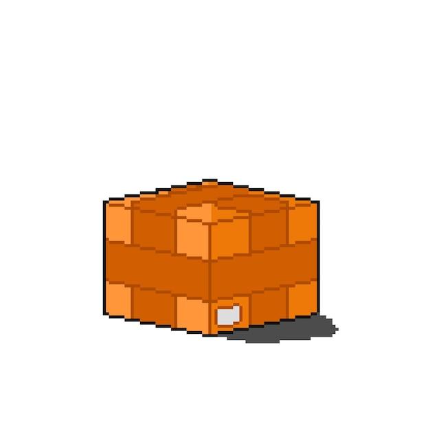 Izolowane pudełko dostawy w stylu pixel art art