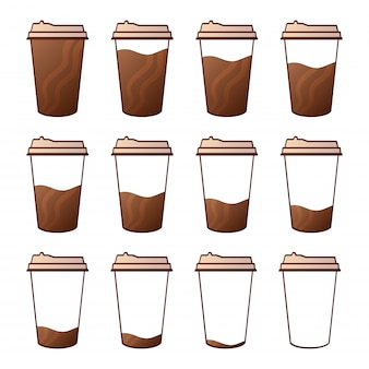 Izolowane zestaw papierowych kubków na kawę