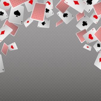Izolowanie spadających kart do gry. wektorowy szablon dla kasyna i hazardu pojęcia. karta do gry w pokera, hazard i szansa, ilustracja banner copyspace