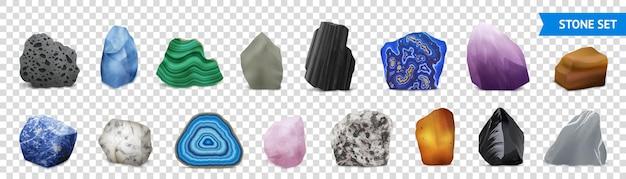 Izolowany i realistyczny zestaw przezroczystych ikon z kamienia