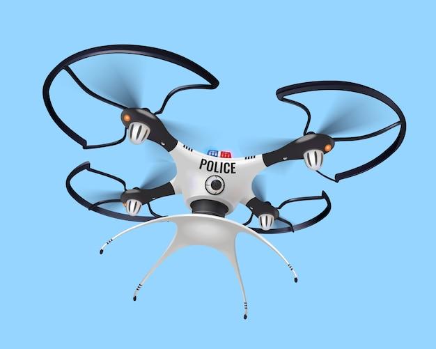 Izolowany realistyczny skład drona policyjnego ze znakiem policji na jego przedniej stronie