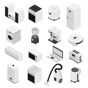 Izometria 3d zestaw ikon agd małe urządzenia gospodarstwa domowego i duże białe i izolowane