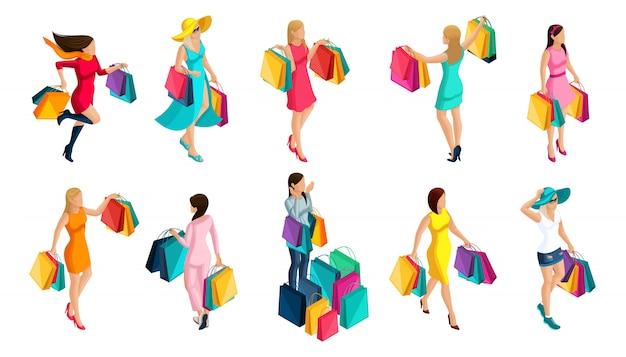 Izometria dziewczyny kupującej, sprzedającej, paczki, święta, czarny piątek, modne ubrania dla nowoczesnej dziewczyny, na ilustracje
