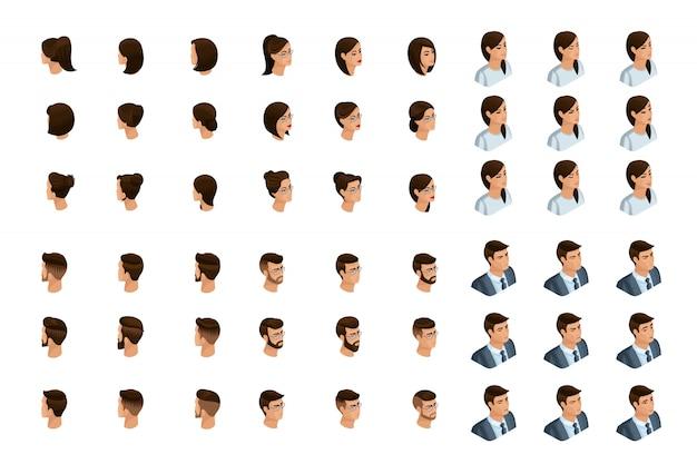 Izometria jakościowa to szczegółowe badanie zestawu fryzur i emocji dla postaci w izometryce. emocje kobiet i mężczyzn. widok z przodu i widok z tyłu