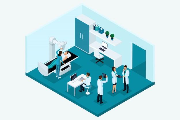Izometria jakościowa, znaki. koncepcja pokoju rentgenowskiego. spotkanie lekarzy, badanie pacjenta na aparacie, badanie analiz