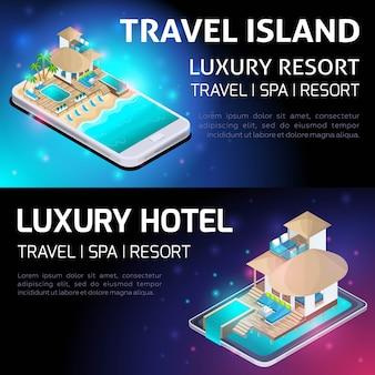 Izometria jasna koncepcja reklamy luksusowego kurortu, podróży, luksusowego hotelu
