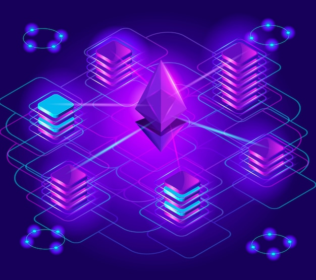 Izometria kryptowalut, jasne holograficzne efekty świetlne, stos blokad, platforma ethereum, wymiana, wzrost przychodów, analiza rynku, płatność za pomocą kryptowaluty