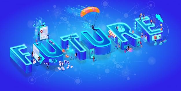 Izometryczna 3d słowo przyszłość.