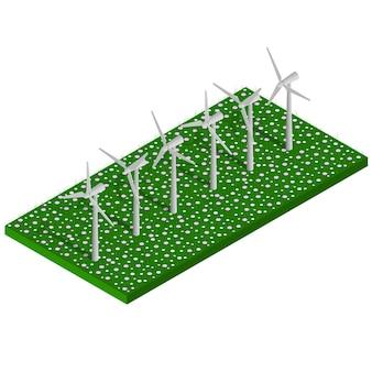 Izometryczna alternatywna eko zielona energia. turbiny wiatrowe na polu. krajobraz. ilustracja wektorowa.