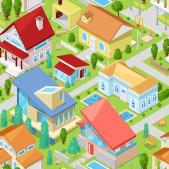 Izometryczna architektura mieszkaniowa lub ilustracja domu mieszkalnego