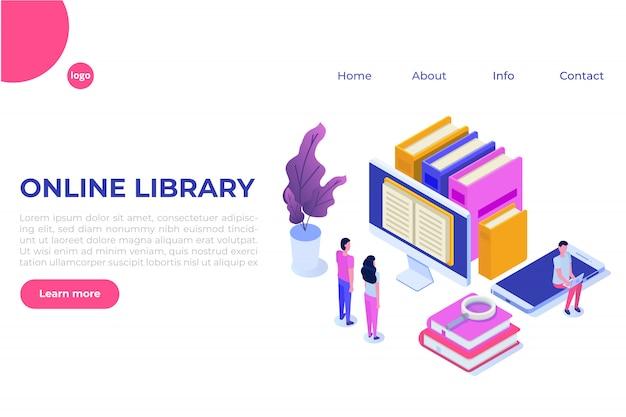 Izometryczna biblioteka cyfrowa online, księgarnia internetowa, e-learning, ebook. ilustracja.