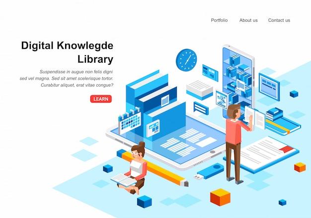 Izometryczna biblioteka wiedzy cyfrowej z dwiema postaciami mężczyzny i kobiety czytające książkę cyfrową