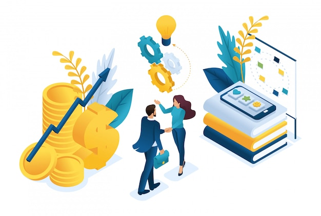 Izometryczna biznesowa współpraca finansowa między inwestorem a zespołem kreatywnym.