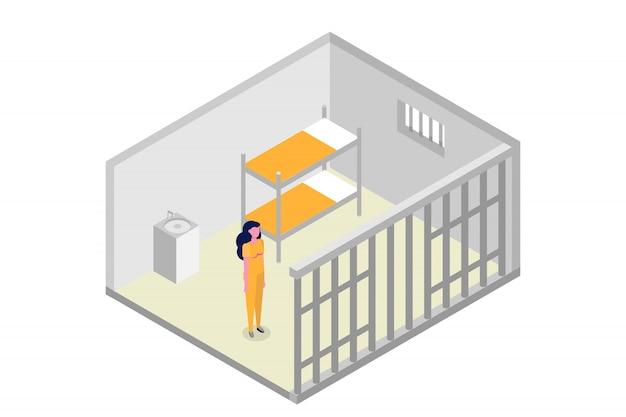 Izometryczna cela więzienna. więzienie, koncepcja więzienia. ilustracji wektorowych