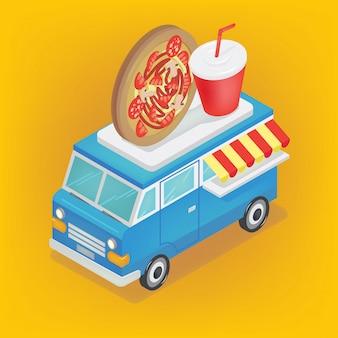 Izometryczna ciężarówka do żywności z pizzą i sodą