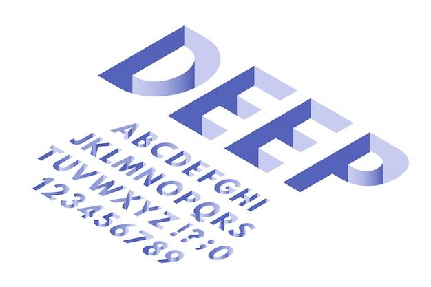 Izometryczna czcionka otworu. głębokie dziury litery alfabetu typografii, numery czcionek 3d i modne litery wektor zestaw symboli