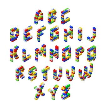 Izometryczna czcionka wykonana z kolorowych plastikowych bloków.