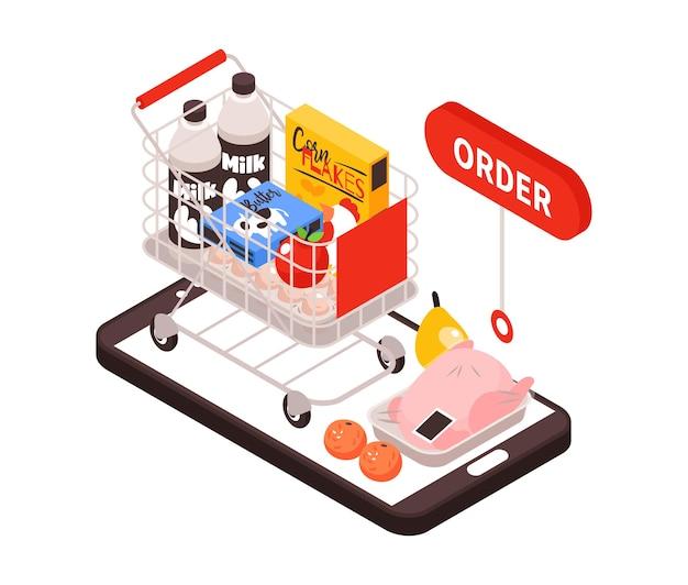 Izometryczna dostawa składu żywności z wizerunkiem smartfona z wózkiem na wózek zbierający produkty spożywcze