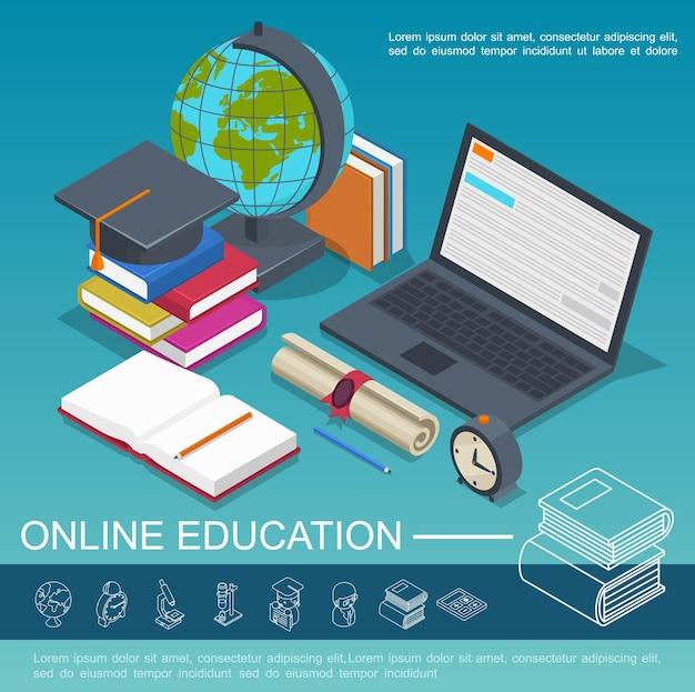 Izometryczna edukacja online kolorowa kompozycja z laptopem książki glob certyfikat budzik podręcznik ołówek ilustracja czapka ukończenia szkoły