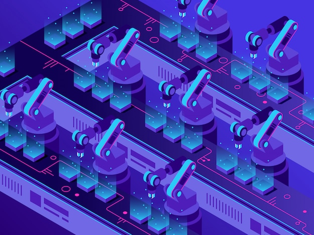 Izometryczna futurystyczna linia produkcyjna. automatyzacja magazynu przemysłowego, inteligentne ramiona robotów i ilustracji wektorowych maszyn fabrycznych