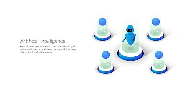 Izometryczna futurystyczna sztuczna inteligencja
