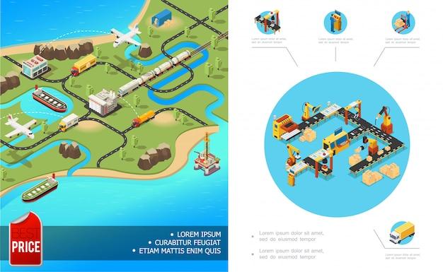 Izometryczna globalna kompozycja logistyczna z samolotem, ciężarówką, pociągiem, transportem, linią do pakowania, automatycznym ramieniem
