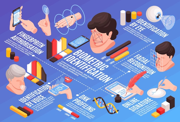 Izometryczna identyfikacja biometryczna kompozycja poziomego schematu blokowego z obrazami ikon i tekstem infografiki ludzkich głów, rąk