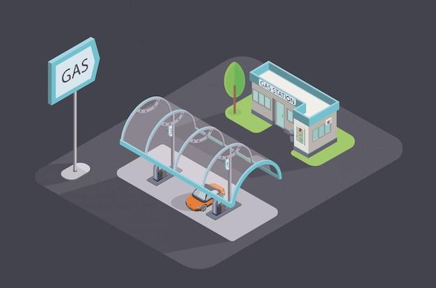 Izometryczna ikona ilustracja. stacja benzynowa ze sklepem i samochodem.