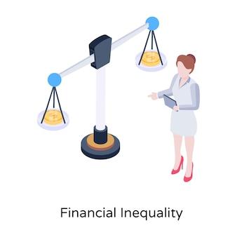 Izometryczna ikona koncepcji nierówności finansowych