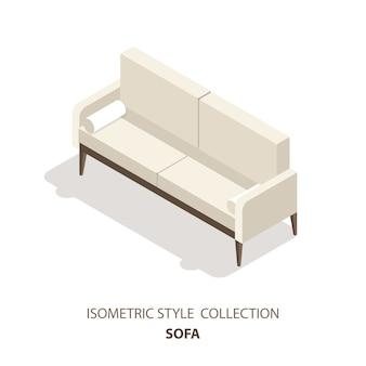 Izometryczna ikona lub logo w stylu skandynawskim sofy. 3d ilustracja kanapa. meble izometryczne.