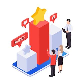 Izometryczna ikona promocji marketingowej z kolorowym wykresem przedstawiającym oceny 3d