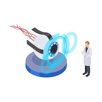 Izometryczna ikona przyszłej technologii z postacią naukowca i robota oko 3d
