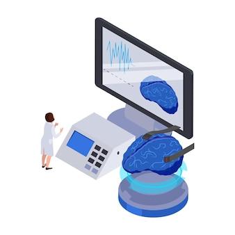 Izometryczna ikona przyszłej technologii ze sprzętem komputerowym i postacią ludzkiego mózgu