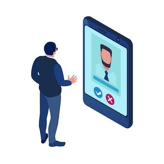Izometryczna ikona rekrutacji ze specjalistą hr i cv kandydata do pracy na ekranie tabletu