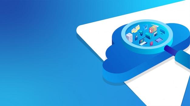 Izometryczna ilustracja 3d z lupą wyszukiwanie istotnych elementów biznesowych.