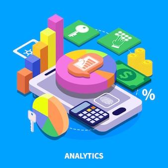 Izometryczna ilustracja analytics