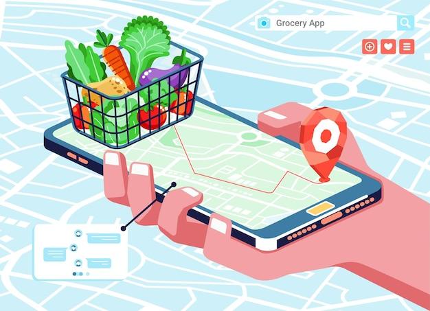 Izometryczna ilustracja aplikacji do zakupów online z produktami spożywczymi w koszyku, mapie i telefonie