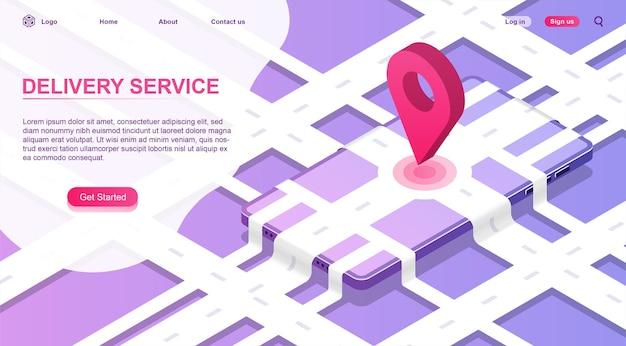 Izometryczna ilustracja aplikacji dostawy śledzenie usługi wysyłka ciężarówek globalna nawigacja online