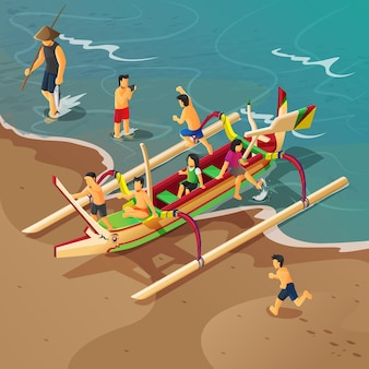 Izometryczna ilustracja balijskiej tradycyjnej łodzi rybackiej z dziećmi bawiącymi się na niej