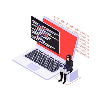 Izometryczna ilustracja bezpieczeństwa cybernetycznego z komputerem i postacią hakera