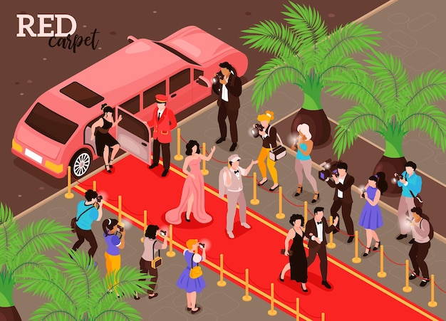 Izometryczna ilustracja celebrytów z fioletową limuzyną i supergwiazdami idącymi po czerwonym dywanie z reporterskimi fotografami