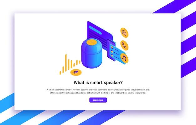 Izometryczna ilustracja cyfrowego sterowania inteligentnymi głośnikami dla witryn internetowych