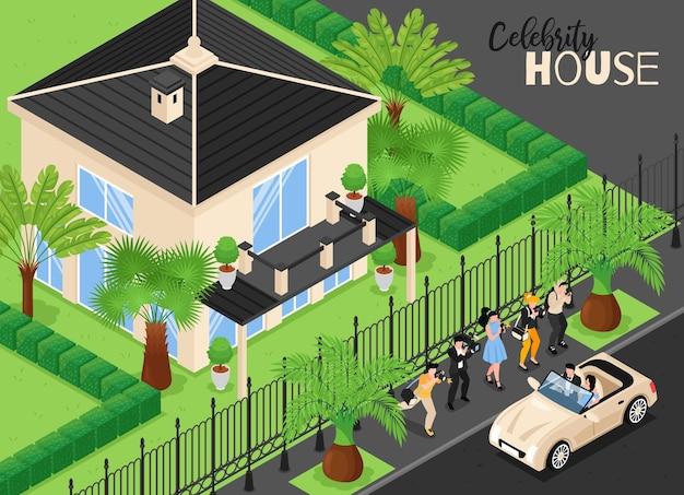 Izometryczna ilustracja domu gwiazdy ze zdjęciami reporterów i dziennikarzy spotykających słynną parę przyjeżdżającą do domu samochodem