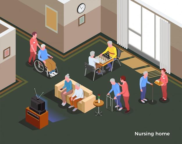Izometryczna ilustracja domu opieki ilustruje wnętrze wspólnej sali ze stołem z sofą do gier i mieszkańców obiektu socjalnego
