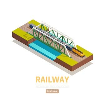 Izometryczna ilustracja dworca kolejowego z edytowalnym tekstem przycisk czytaj więcej i pociąg mijający most nad rzeką