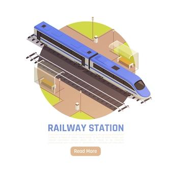 Izometryczna ilustracja dworca kolejowego z okrągłym składem pociągu, edytowalny tekst i przycisk czytaj więcej